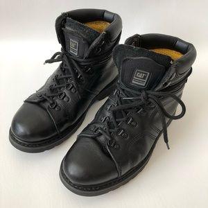 Men's Caterpillar Black Leather Work Boots